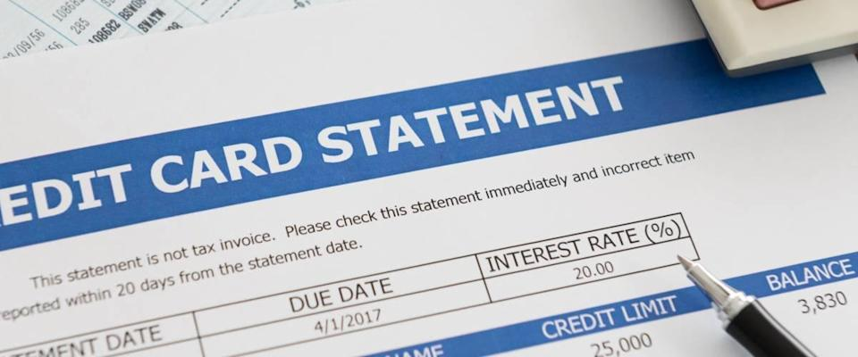 Image of credit card statement with interest rate