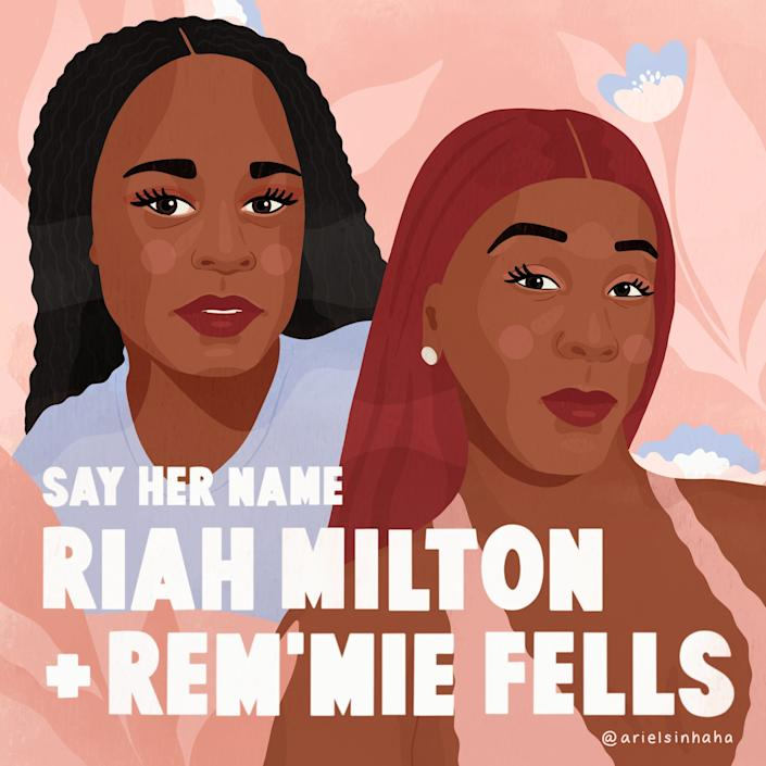 Ariel Sinha drew portraits of Black trans women who were killed, Riah Milton and Rem'mie Fells.