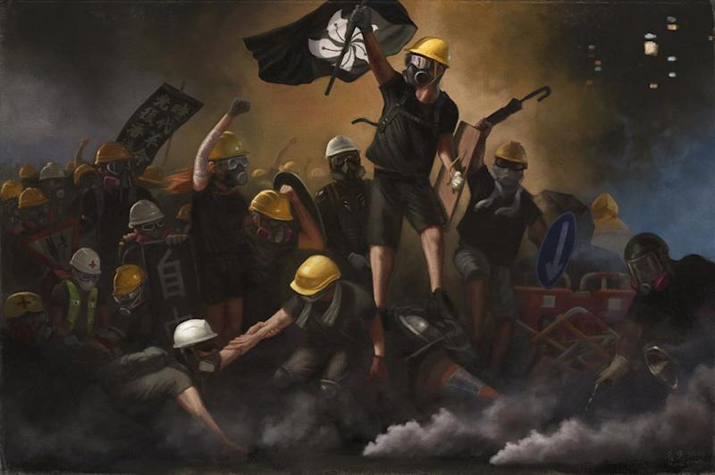 An adaptation of the painting 'Liberty Leading the People' by @harcourtromanticist