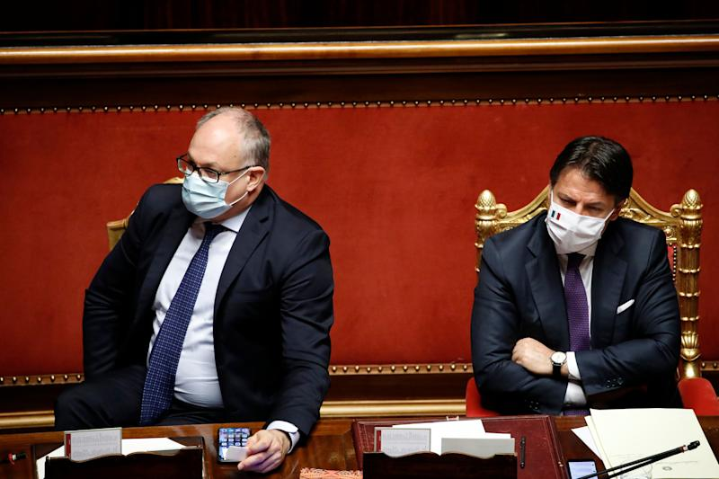 The Italian deputy Roberto Gualtieri and the Italian premier Giuseppe Conte, both with surgical mask, in the Senate Chamber during the report on the results of the extraordinary European Council, which took place in Brussels from 17 to 21 July. Rome (Italy), July 22nd, 2020 (Photo by Massimo Di Vita/Archivio Massimo Di Vita/Mondadori Portfolio via Getty Images) (Photo: Mondadori Portfolio via Getty Images)