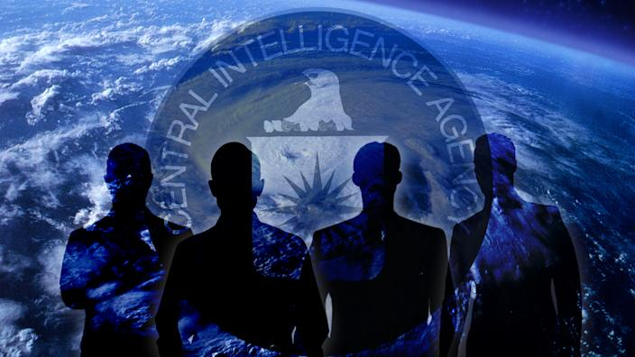 Four silhouettes appear before the CIA logo and an image of the Earth
