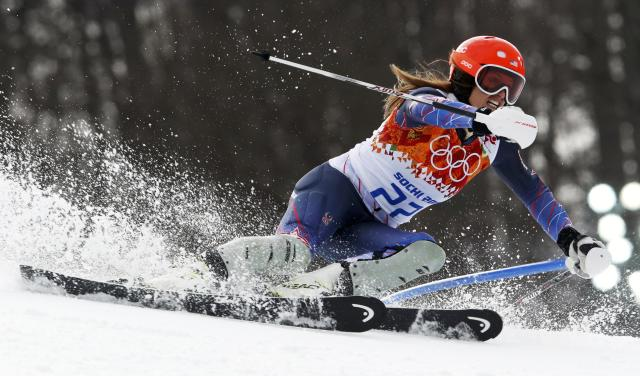 Julia Mancuso of the U.S. competes in the slalom run of the women's alpine skiing super combined event at the 2014 Sochi Winter Olympics at the Rosa Khutor Alpine Center February 10, 2014. Mancuso came in third place. REUTERS/Stefano Rellandini (RUSSIA - Tags: SPORT SKIING OLYMPICS TPX IMAGES OF THE DAY)