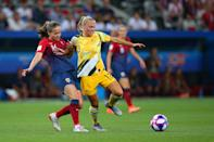 Tameka Yallop of Australia holds off the challenge from Guro Reiten of Norway during the 2019 FIFA Women's World Cup France Round of 16 match between Norway and Australia at Stade de Nice on June 22, 2019 in Nice, France. (Photo by Craig Mercer/MB Media/Getty Images)