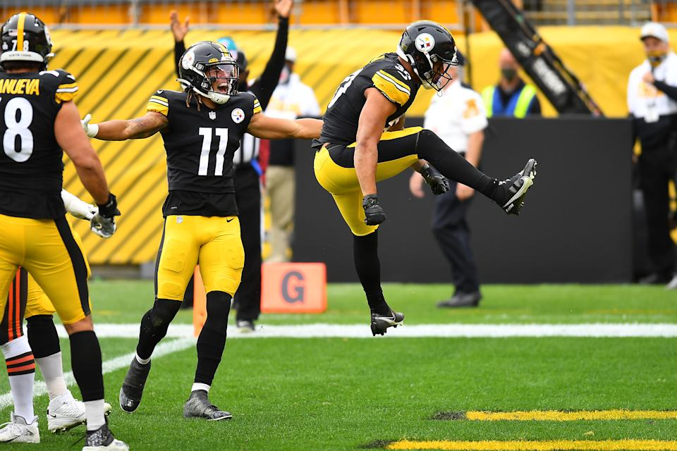 James Conner of the Pittsburgh Steelers celebrates after a touchdown run against the Cleveland Browns. (Photo by Joe Sargent/Getty Images)