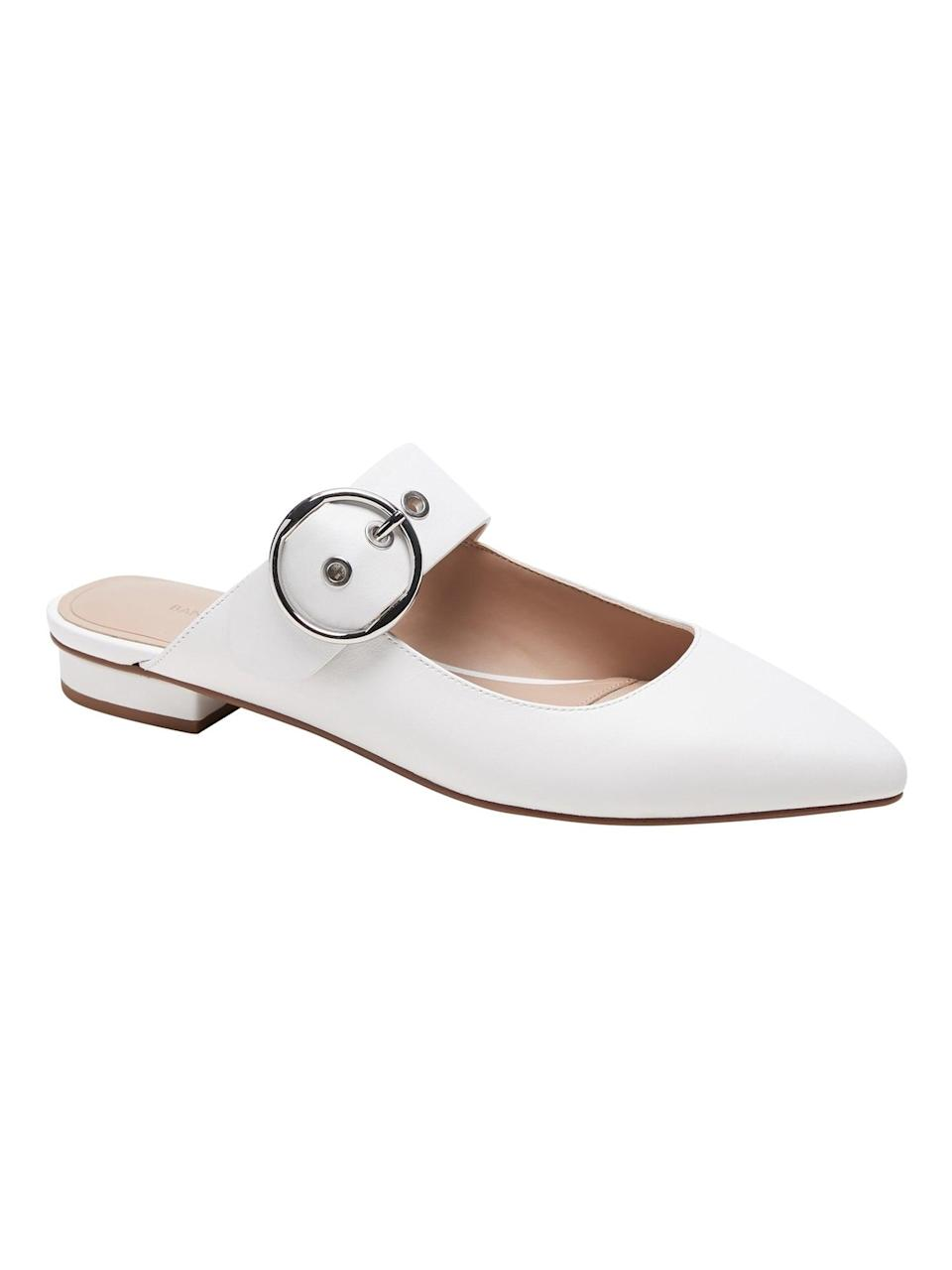 <p>These comfortable <span>Banana Republic Leather Buckle-Strap Mules</span> ($60, originally $118) are perfect for spring.</p>