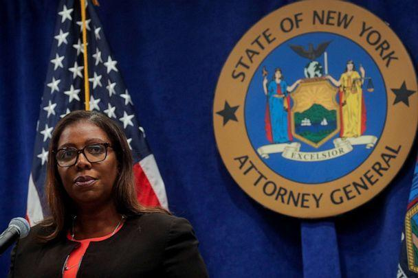 PHOTO: In this Aug. 6, 2020, file photo, New York State Attorney General, Letitia James, speaks during a news conference in New York. (Brendan McDermid/Reuters, FILE)