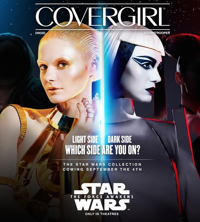 <p>The first two of six beauty looks were revealed today. Droid appears to be inspired by C-3PO's golden finish, with shimmery and illuminated lids, lips, and cheekbones. CoverGirl Star Wars Lipstick Colorlicious in Gold #40 may not be for everyday wear, but it looks fun for a night out. Stormtrooper has a black-and-white graphic feel, not unlike the soldiers' uniforms. Channel your dark side with winged liner, contoured cheeks, and dark lips. CoverGirl Star Wars Lipstick Colorlicious in Dark Purple #50 is right on target for fall's '90s-inspired vamp lipstick trend.</p><p><br /></p>