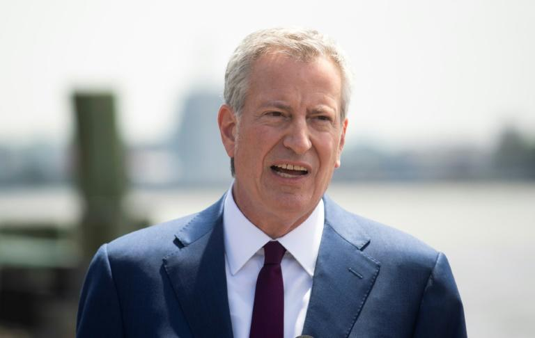 """New York Mayor Bill de Blasio, pictured in May 2019, announced a series of measures to tackle """"more and more violent"""" anti-Semitism (AFP Photo/Johannes EISELE)"""