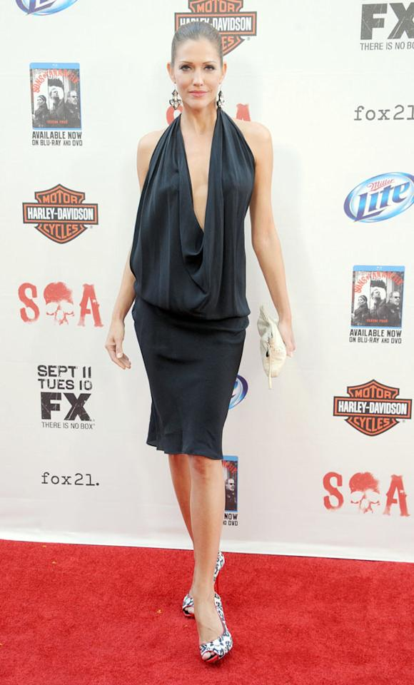 "Tricia Helfer attends the ""Sons of Anarchy"" Season 5 premiere screening at Westwood Village on September 8, 2012 in Los Angeles, California."