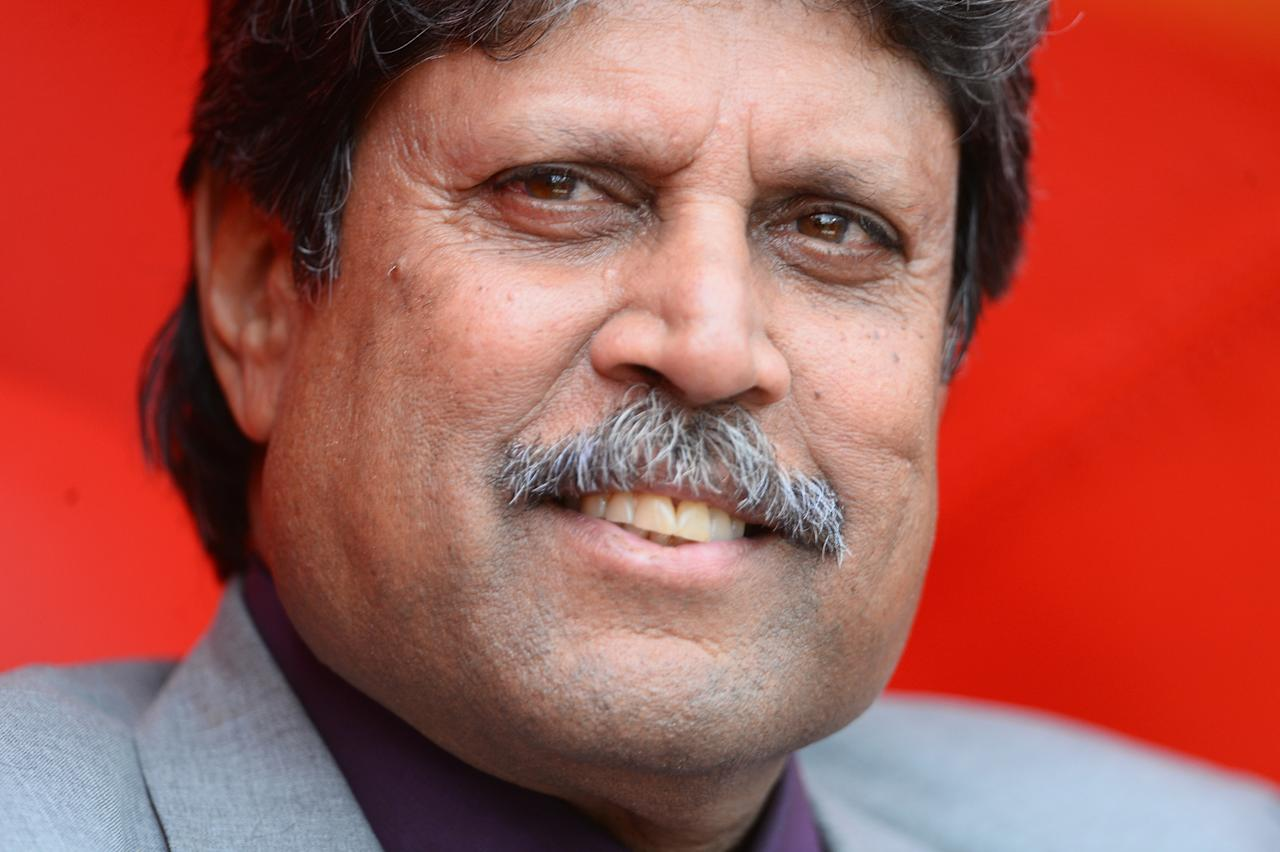 LONDON, ENGLAND - JUNE 11:  The great Indian all rounder Kapil Dev enjoys the cricket during the ICC Champions Trophy Group B match between India and West Indies  at The Kia Oval on June 11, 2013 in London, England.  (Photo by Mike Hewitt/Getty Images)