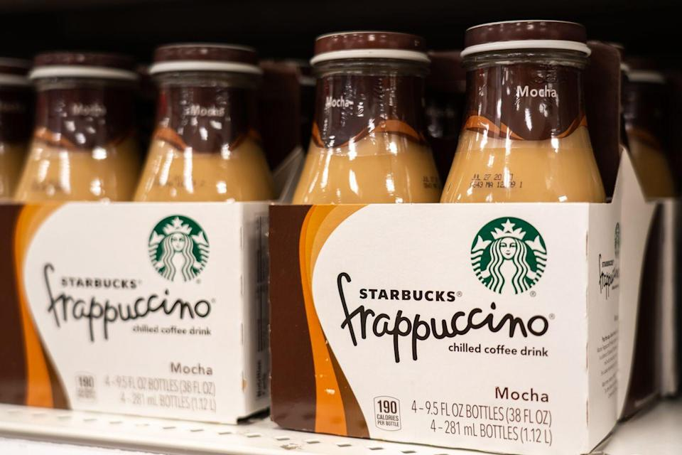 """<p><a class=""""link rapid-noclick-resp"""" href=""""https://www.target.com/p/starbucks-frappuccino-vanilla-coffee-drink-4pk-9-5-fl-oz-glass-bottles/-/A-12959304"""" rel=""""nofollow noopener"""" target=""""_blank"""" data-ylk=""""slk:BUY NOW"""">BUY NOW</a> <strong><em>$8, target.com</em></strong></p><p>Sadly, these don't come topped with a mountain of whipped cream, but <a href=""""https://www.delish.com/food-news/a32585102/starbucks-bottled-frappuccinos/"""" rel=""""nofollow noopener"""" target=""""_blank"""" data-ylk=""""slk:bottled Starbucks Frappuccinos"""" class=""""link rapid-noclick-resp"""">bottled Starbucks Frappuccinos</a> are *almost* as good as the real thing. </p>"""