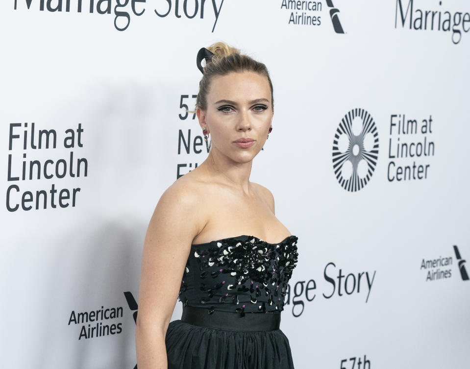 NEW YORK, UNITED STATES - 2019/10/04: Scarlett Johansson wearing dress by Dior attends premiere of Marriage Story at 57th New York Film Festival at Lincoln Center Alice Tully Hall. (Photo by Lev Radin/Pacific Press/LightRocket via Getty Images)