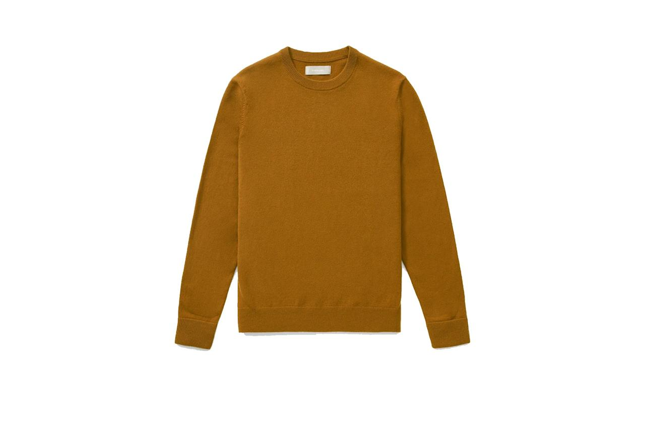 """$130, Everlane. <a href=""""https://www.everlane.com/products/mens-cashmere-crew-brass?collection=mens-100-dollar-cashmere"""">Get it now!</a>"""