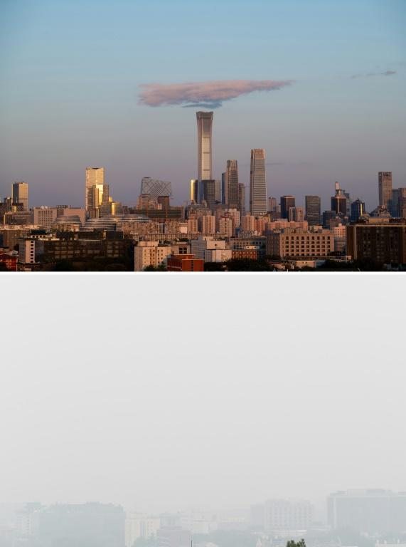 China suffers from terrible pollution -- these two photos of the same Beijing scene were taken just over a month apart in later 2018