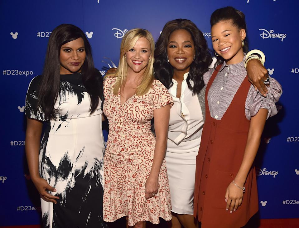 Members of the cast of <em>A Wrinkle In Time</em>: Mindy Kaling, Reese Witherspoon, Oprah Winfrey, Storm Reid. (Photo: Getty Images)