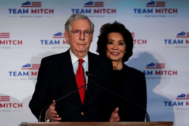 Senate Majority Leader Mitch McConnell (R-KY) holds a post election news conference as he declares victory, in Louisville