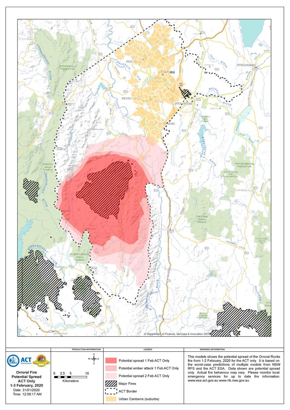 Predictive mapping of the fire this weekend. Source: ACT ESA