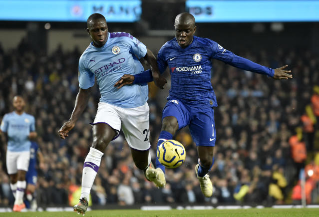 N'Golo Kante handed Chelsea the lead at the Etihad Stadium. (AP Photo/Rui Vieira)