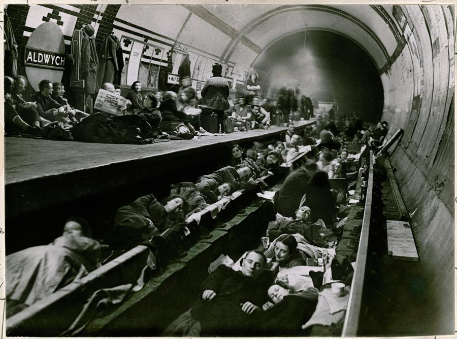 Londoners seek shelter during WWII in the Aldwych tube station, April 1941.