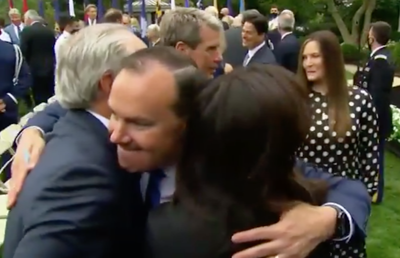 White House SCOTUS announcement is suspected as Covid super-spreader event as video shows infected senator hugging attendees