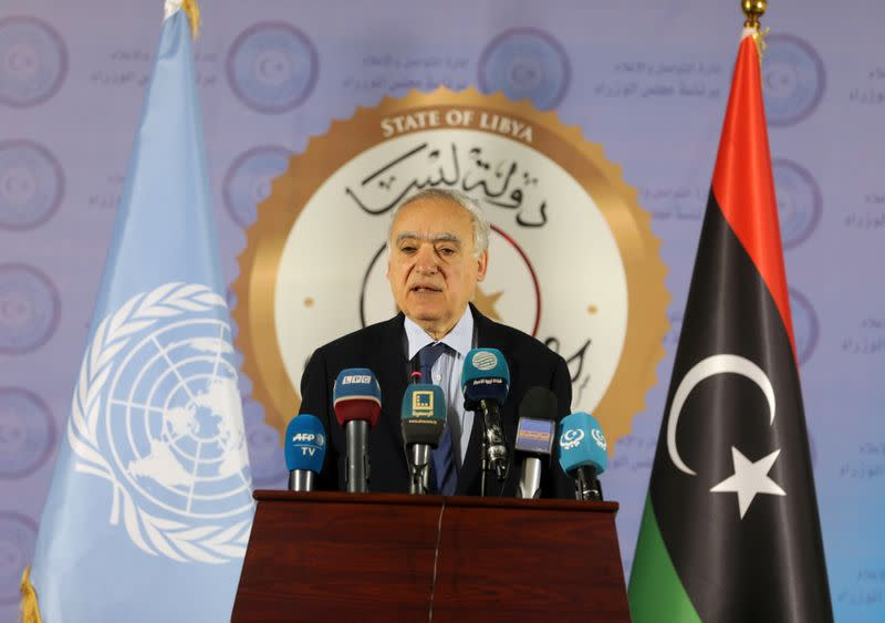 FILE PHOTO: The U.N. Envoy for Libya, Ghassan Salame, speaks during a news conference in Tripoli