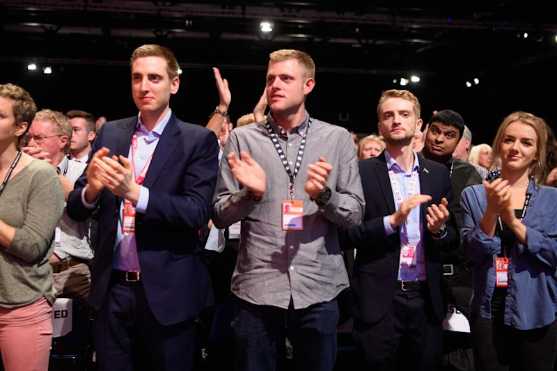 Jeremy Corbyn's sons Seb, Benjamin and Tommy Corbyn pictured during his speech at the Labour Party annual conference at the Arena and Convention Centre (ACC), in Liverpool. Picture date: Wednesday September 26th, 2018. Photo credit should read: Matt Crossick/ EMPICS Entertainment.