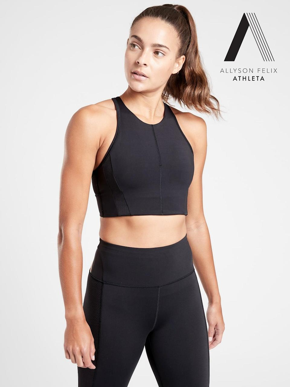 <p>This Allyson Felix x <span>Athleta Legend High Neck Bra</span> ($64) is what you want to wear for your sweatiest, toughest workouts. It's supportive without being bulky or restrictive, which we had previously thought was impossible.</p>