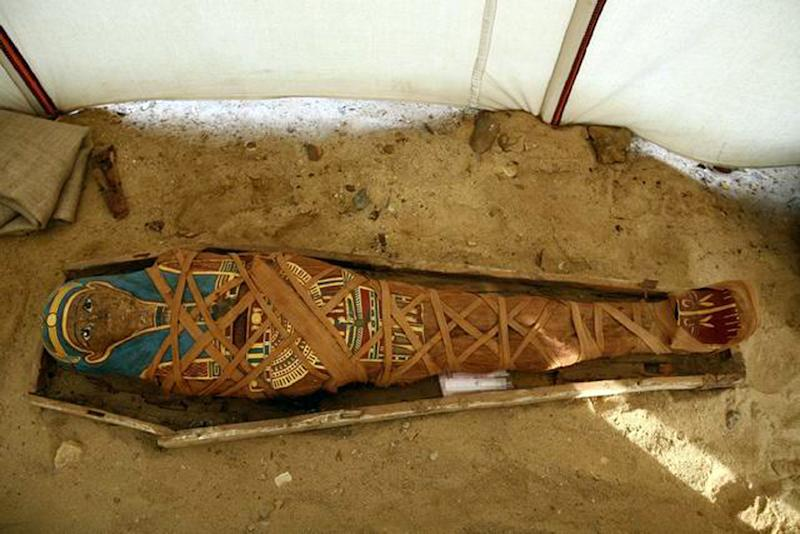 A 2008 picture from the Egyptian Supreme Council of Antiquities shows a Greco-Roman era mummy that was also discovered in Fayoum