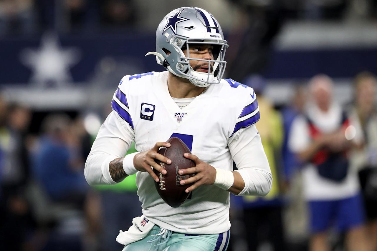 ARLINGTON, TEXAS - DECEMBER 29: Dak Prescott #4 of the Dallas Cowboys drops back to pass in the third quarter against the Washington Redskins in the game at AT&T Stadium on December 29, 2019 in Arlington, Texas. (Photo by Ronald Martinez/Getty Images)