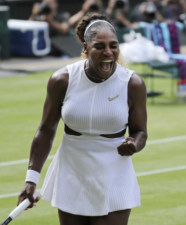 United States' Serena Williams reacts as she plays Czech Republic's Barbora Strycova in a Women's semifinal singles match on day ten of the Wimbledon Tennis Championships in London, Thursday, July 11, 2019. (AP Photo/Ben Curtis)