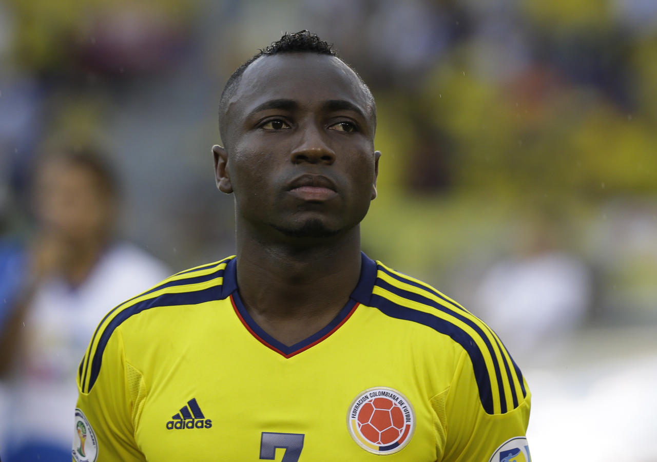 Colombia's Pablo Armero prior to a 2014 World Cup qualifying match against Peru in Barranquilla, Colombia, Tuesday, June 11, 2013. (AP Photo/Ricardo Mazalan)