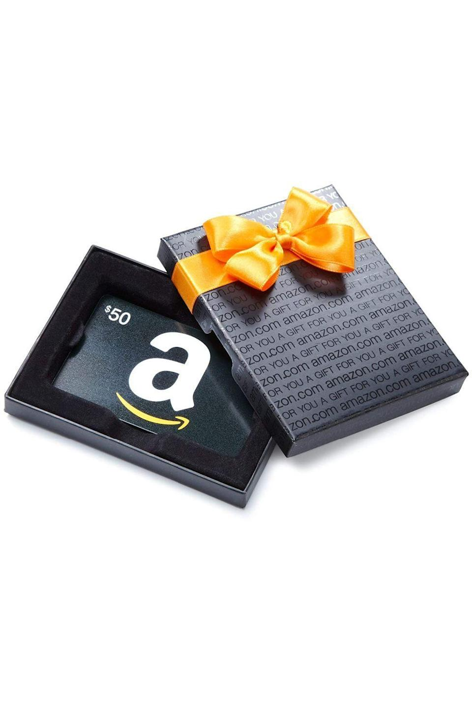 """<p><strong>Amazon</strong></p><p>amazon.com</p><p><a href=""""https://www.amazon.com/dp/B07FK995X7?tag=syn-yahoo-20&ascsubtag=%5Bartid%7C10049.g.34229001%5Bsrc%7Cyahoo-us"""" rel=""""nofollow noopener"""" target=""""_blank"""" data-ylk=""""slk:Shop Now"""" class=""""link rapid-noclick-resp"""">Shop Now</a></p><p>Sometimes people need stuff like toilet paper, but that's not really a fun Christmas gift to give. Instead, give them an Amazon gift card so they can get call the wants <em>and </em>the needs.</p>"""