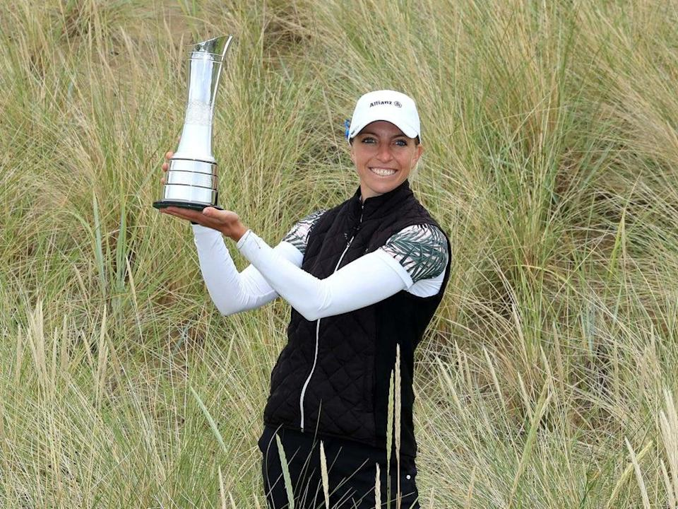 Sophia Popov celebrates with the trophy at Royal Troon (Getty)