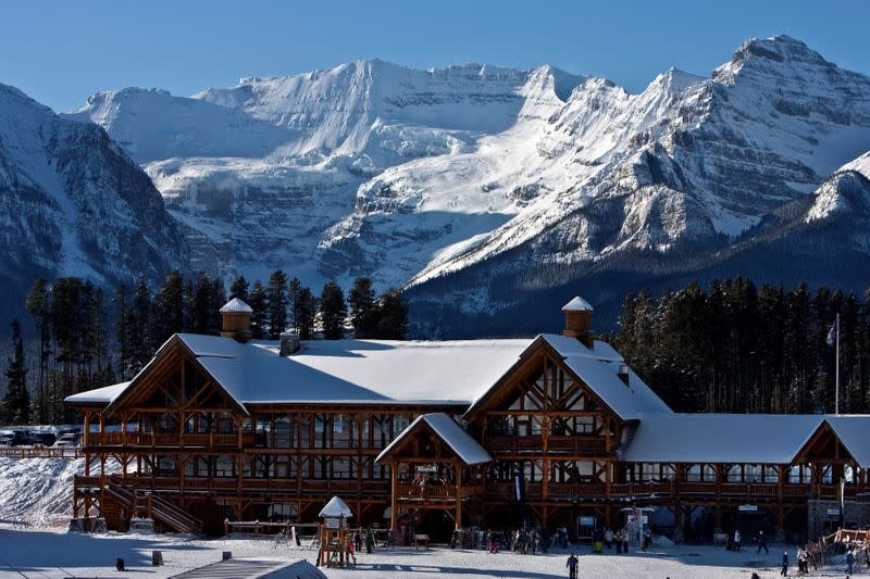 FILE PHOTO: A morning view of Whiskey Jack Lodge in Lake Louise, Alberta
