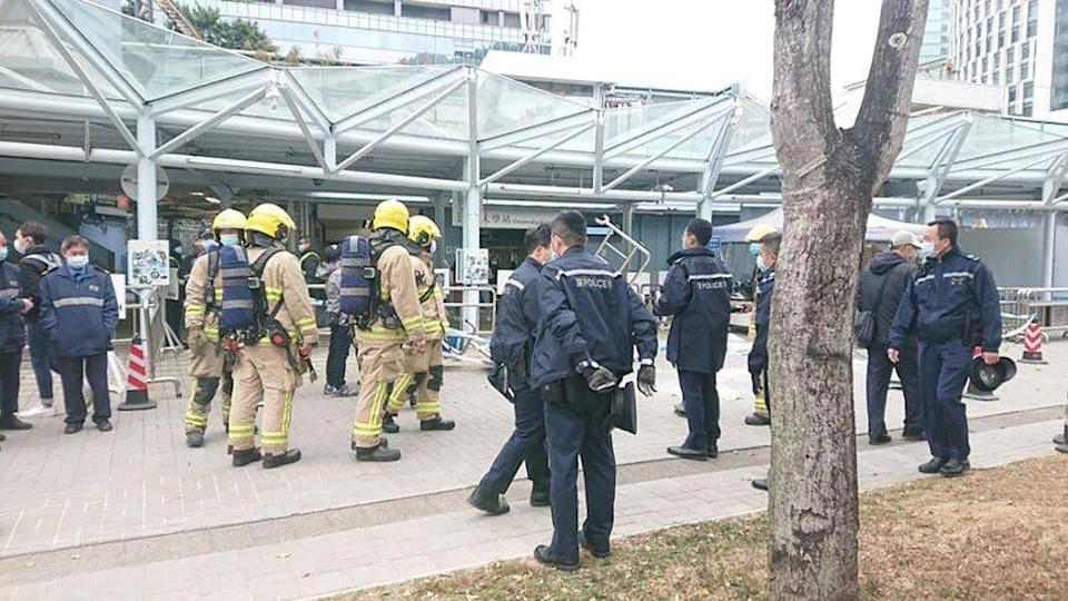 Police and firefighters were called to the assault scene at Chinese University's Sha Tin campus. Photo: Facebook