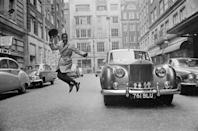 <p>Sammy seen having the time of his life in London, jumping next to his Rolls-Royce in March 1963.</p>