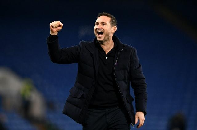 Chelsea manager Frank Lampard celebrates the recent win over Leeds with the home fans