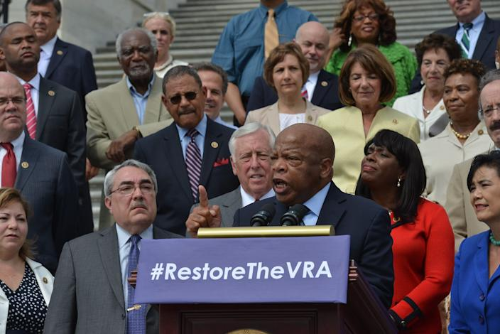 Rep. John Lewis, D-Ga., speaks at a press event to commemorate the 50th anniversary of the Voting Rights Act on the steps of the Capitol in Washington, D.C., on July 30, 2015.