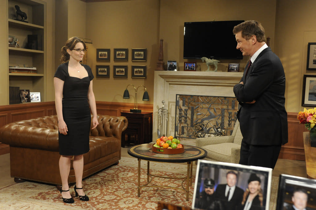 "Tina Fey as Liz Lemon and Alec Baldwin as Jack Donaghy in the ""Live from Studio 6H"" episode of ""<a href=""http://tv.yahoo.com/30-rock/show/37064"">30 Rock</a>."""