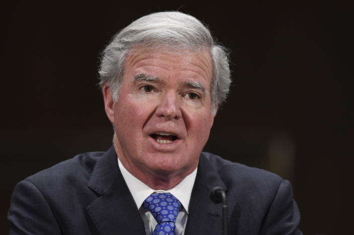 FILE - In this Feb. 11, 2020, file photo, NCAA President Mark Emmert testifies during a Senate Commerce subcommittee hearing on intercollegiate athlete compensation on Capitol Hill in Washington. Emmert says the inequity issues between the men's and women's tournaments are the result of a lack of communication between the tourneys' basketball committees and their focus on trying to get both events off to safe starts. (AP Photo/Susan Walsh, File)