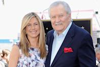 """<p>""""My dad became a soap opera actor, and I was an extra in a skating rink scene on the soap,"""" Jennifer recalled of <a href=""""https://www.nytimes.com/2008/11/24/arts/24iht-23anistont.18098787.html"""" rel=""""nofollow noopener"""" target=""""_blank"""" data-ylk=""""slk:working alongside her dad"""" class=""""link rapid-noclick-resp"""">working alongside her dad</a> in a 2008 chat with <em>The New York Times. </em>Clearly, her career took an upward turn from there. </p>"""