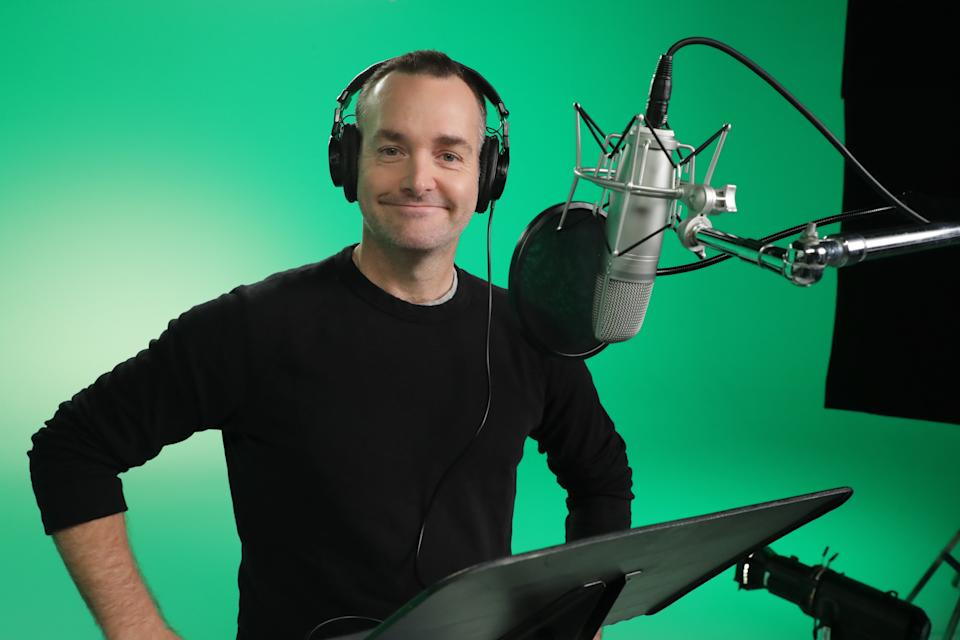 Will Forte recordng his lines for  <i>Scoob!</i> (Warner Bros)