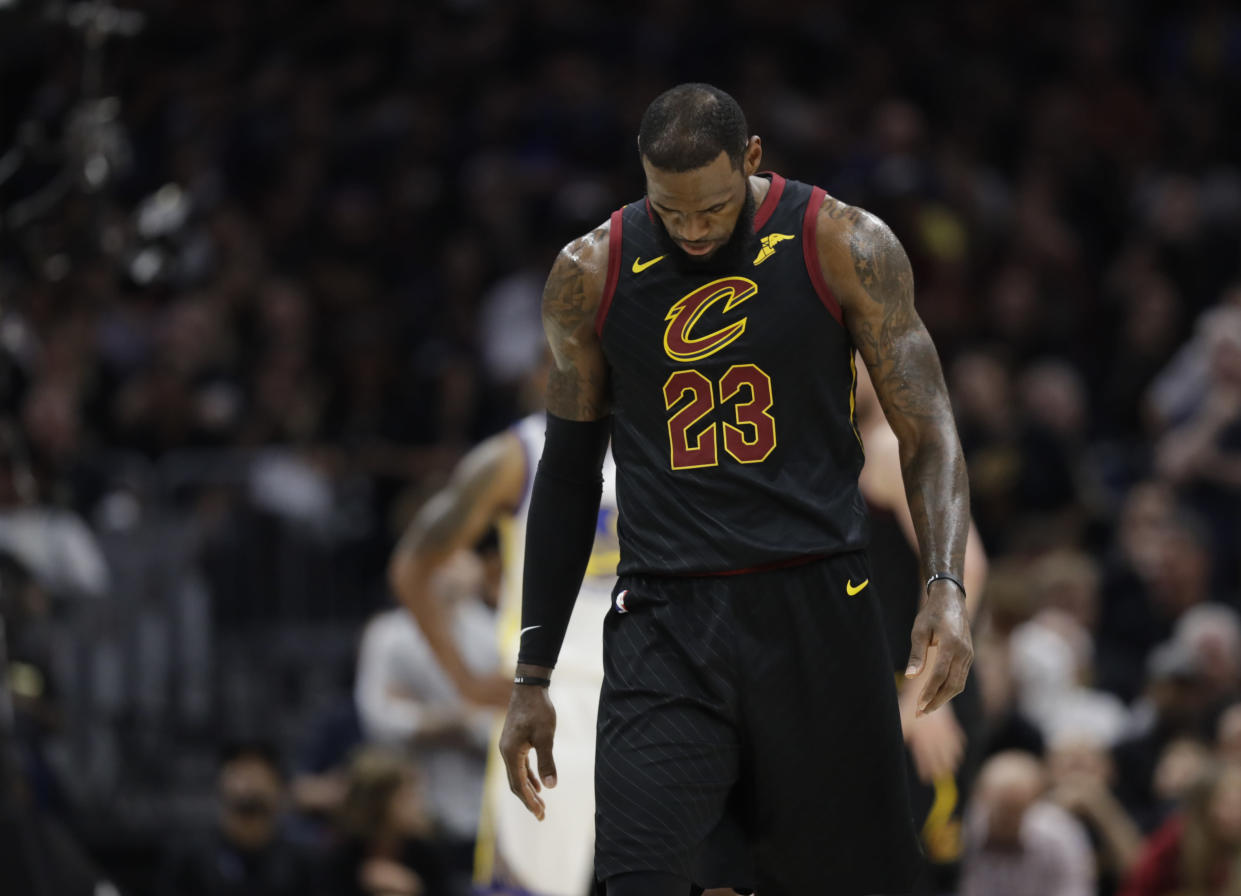 """<a class=""""link rapid-noclick-resp"""" href=""""/nba/players/3704/"""" data-ylk=""""slk:LeBron James"""">LeBron James</a> was already being courted by players from opposing teams moments after the <a class=""""link rapid-noclick-resp"""" href=""""/nba/teams/cle"""" data-ylk=""""slk:Cavaliers"""">Cavaliers</a>' season ended. (AP)"""