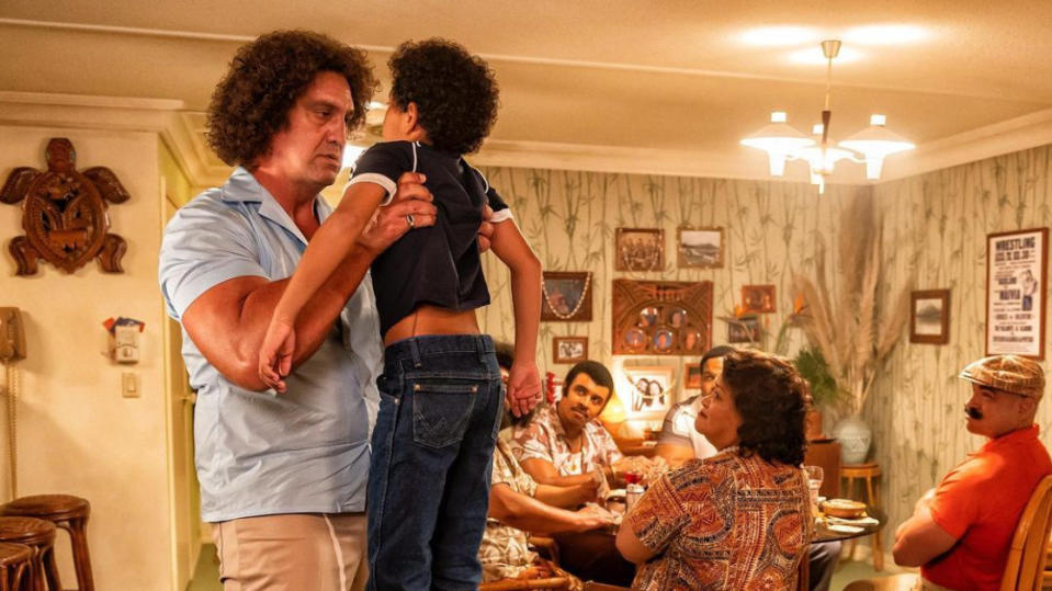 Matthew Willig as Andre the Giant and Adrian Groulx as Dwayne Johnson in 'Young Rock'. (Credit: Dwayne Johnson/Instagram/NBC)