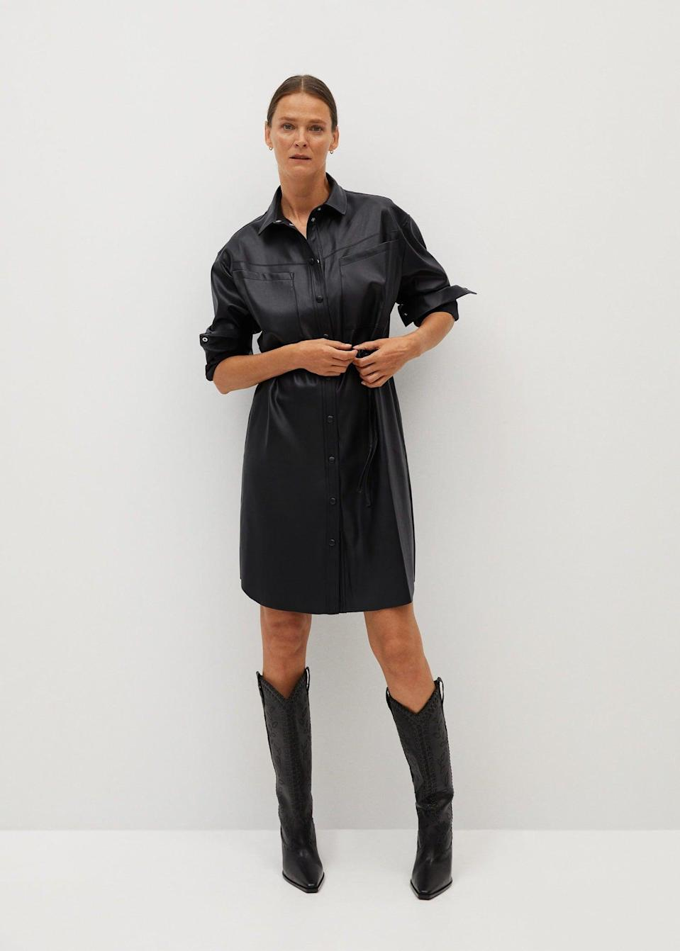 <p>Wear this structured <span>Faux-leather shirt dress</span> ($80) to a power lunch.</p>