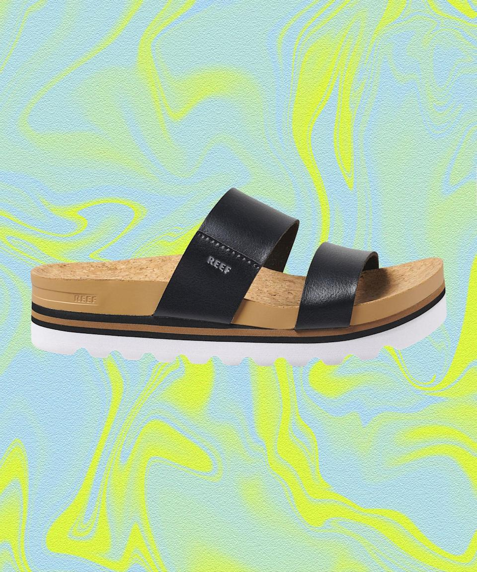 """<strong>How we'd wear it: </strong>With <em>very</em> abbreviated cutoff shorts. <br><br><strong>Where we'd wear it: </strong>To do the two step — the double-strap design will make sure the sandals stay put, while the lug sole adds height so you can tower over your partner to establish dominance. <br><br><strong>Reef</strong> Cushion Vista Hi, $, available at <a href=""""https://go.skimresources.com/?id=30283X879131&url=https%3A%2F%2Fwww.reef.com%2Fshop%2Fwomens-sandals%2Fcushion-vista-hi%2FRF0A3YP5.html"""" rel=""""nofollow noopener"""" target=""""_blank"""" data-ylk=""""slk:Reef"""" class=""""link rapid-noclick-resp"""">Reef</a>"""