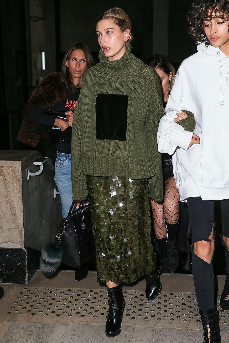 <p>Hailey attended the Off-White show in Paris in this glamorous slouchy number.</p>
