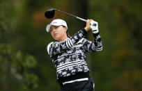 Jin Young Ko, of Korea, hits from the second tee during the final round of the Cognizant Founders Cup, Sunday, Oct. 10, 2021, in West Caldwell, N.J. (AP Photo/Noah K. Murray)