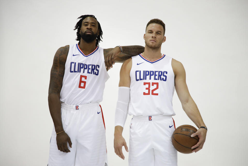 Los Angeles Clippers DeAndre Jordan, left, and Blake Griffin pose for photos during media day. (AP Photo/Jae C. Hong)