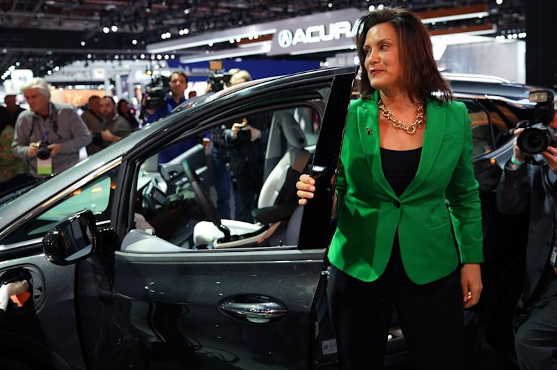 Gretchen Whitmer, newley elected governor of Michigan tours the show during day two of the 2019 The North American International Auto Show January 15, 2019 at the Cobo Center in Detroit, Michigan. (Photo by TIMOTHY A. CLARY / AFP) (Photo credit should read TIMOTHY A. CLARY/AFP via Getty Images)